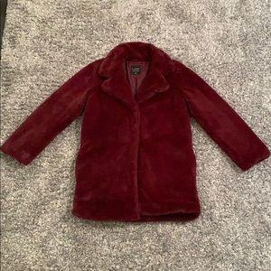 Faux Fur Burgundy Red Peacoat Jacket